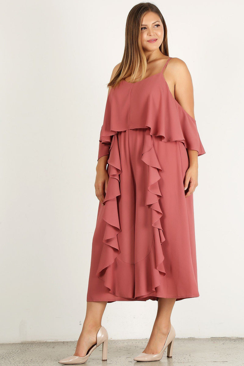 Plus Size Solid Wide Leg Jumpsuit - J NILLY