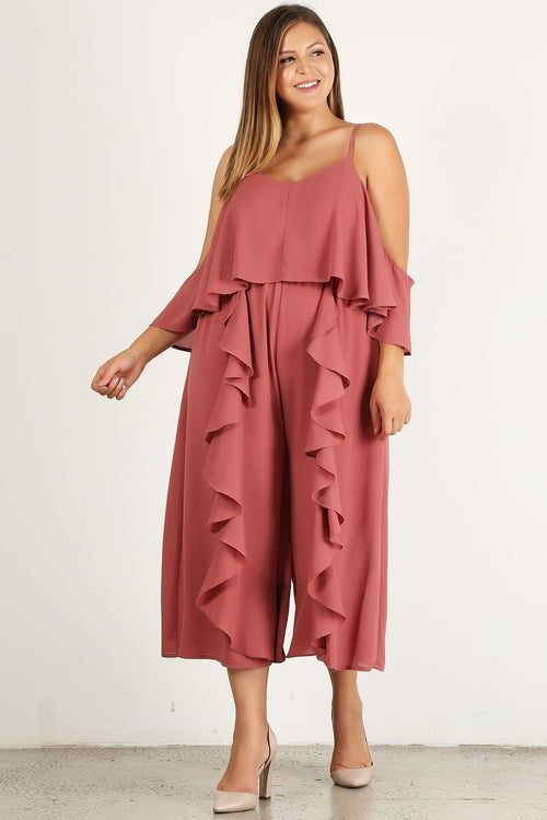 Plus Size Cold Shoulder Jumpsuit - J NILLY