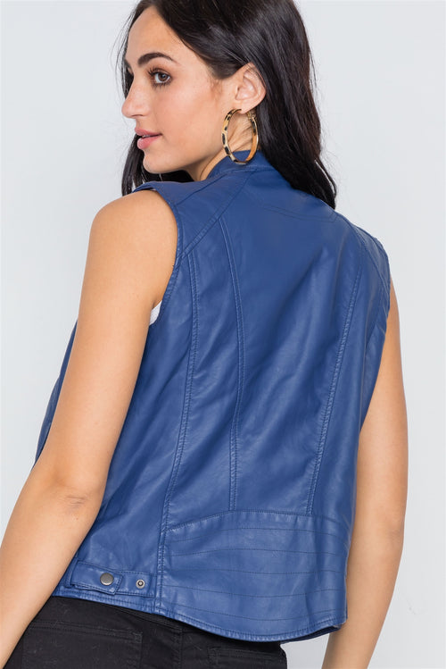 Blue Vegan Leather Faux Fur Lining Triple Zip-up Detail Moto Vest - J NILLY