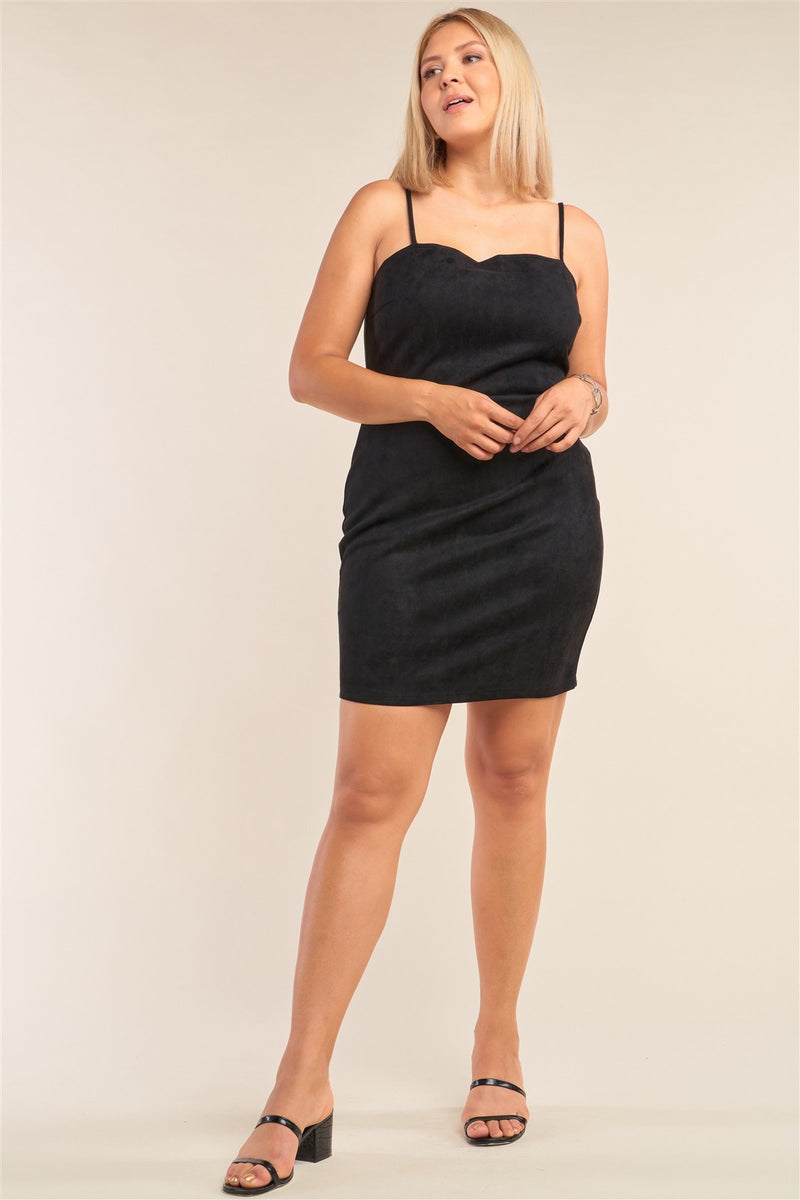 Plus Size Suede Sleeveless Fitted Square Neck Mini Dress - J NILLY