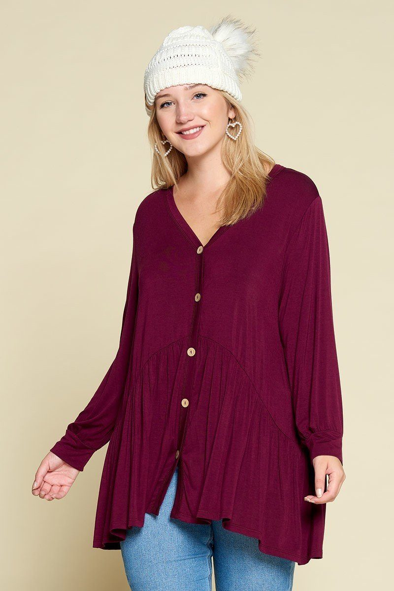 Plus Size Solid Heavy Rayon Modal Jersey Faux Button Up - J NILLY