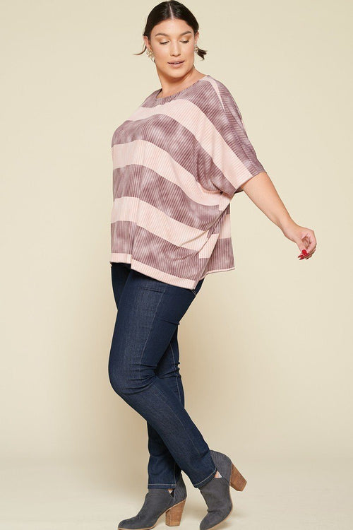 Stripe Printed Pleated Blouse Featuring A Boat Neckline And 1/2 Sleeves - J NILLY