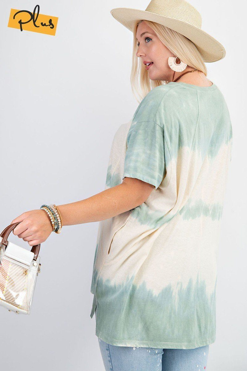 Short Sleeves Wave Washed Sheer Rayon Knit Top - J NILLY