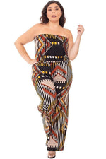 Plus Size Abstract Print Tube Jumpsuit - J NILLY