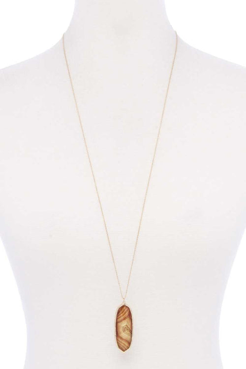 Acetate Oval Metal Edge Pendant Necklace - J NILLY