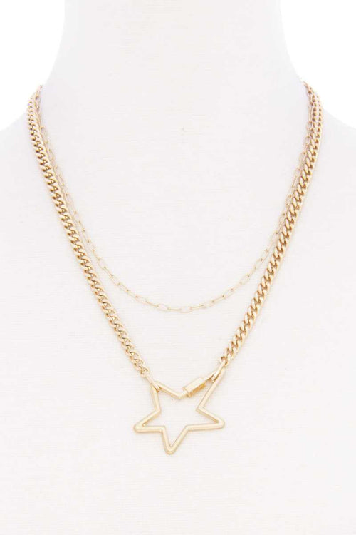 Star Pendnat Cuban Link Layered Metal Necklace - J NILLY