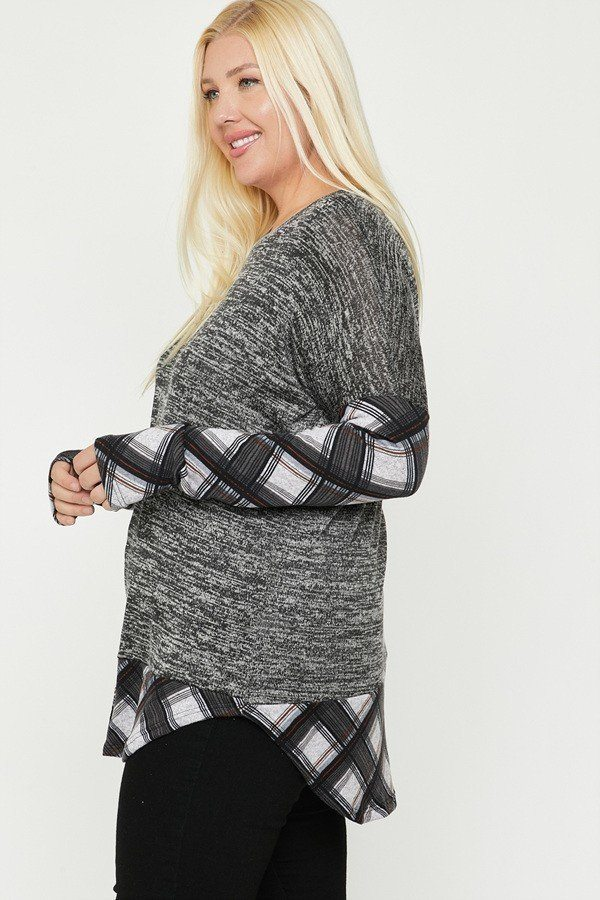 Two Tone Knit Top - J NILLY