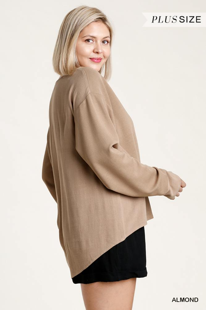 Linen Blend Button Down Cardigan With High Low Hem - J NILLY