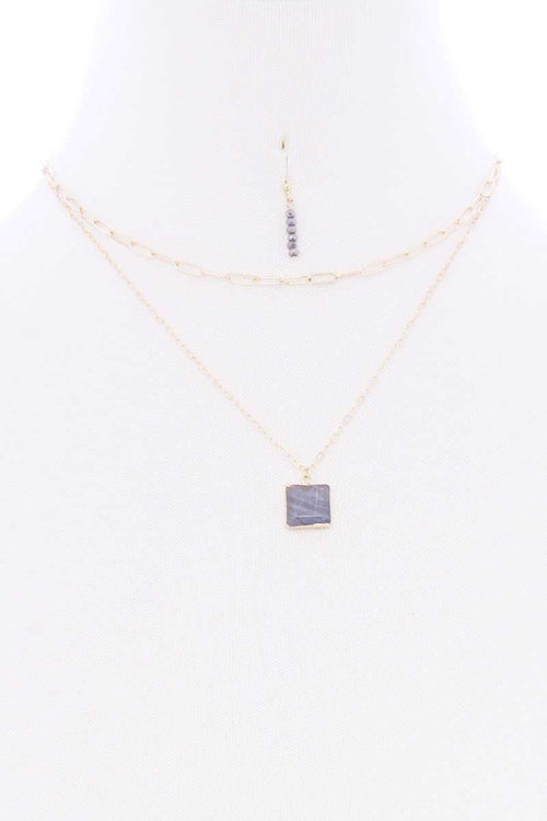 2 Layered Chain Metal Square Marbling Stone Pendant Necklace - J NILLY