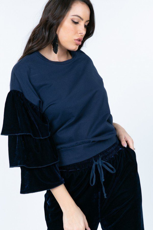 Tiered Velvet Ruffle Sleeve Pullover Crewneck Top - J NILLY