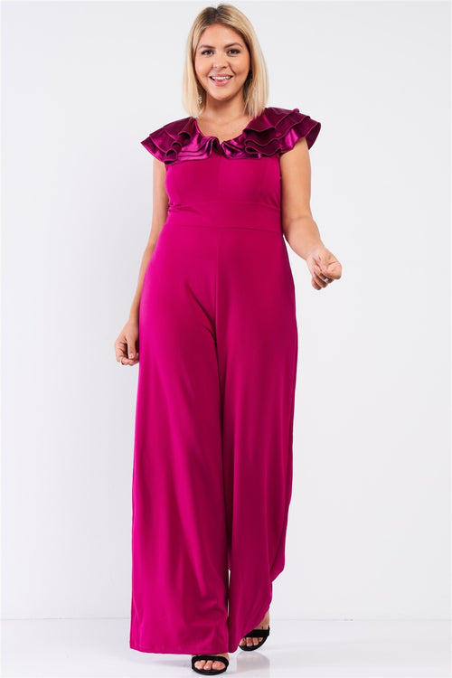 Plus Sleeveless Satin Ruffle Shoulder Detail V-neck Wide Leg Jumpsuit - J NILLY