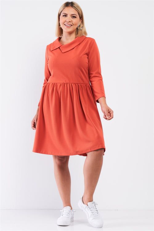 Plus Pleated Preppy Fit & Flare Long Sleeve Asymmetrical Peter Pan Collar Mini Dress - J NILLY