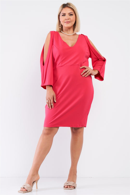 Plus Coral Pink Plunging V-neck Long Slit Sleeve Detail Mini Dress - J NILLY