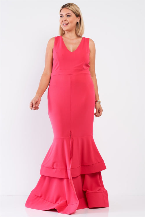 Plus Sleeveless V-neck Front Slip Layered Flare Hem Maxi Mermaid Dress - J NILLY