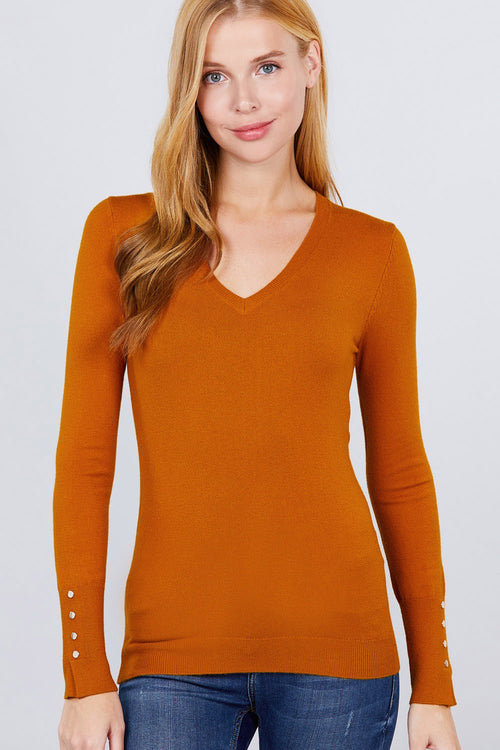 V-neck Sweater W/rivet Button - J NILLY