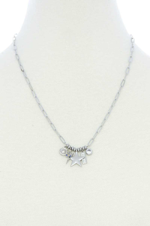 Dainty Star Lighting Bolt Charm Metal Necklace - J NILLY