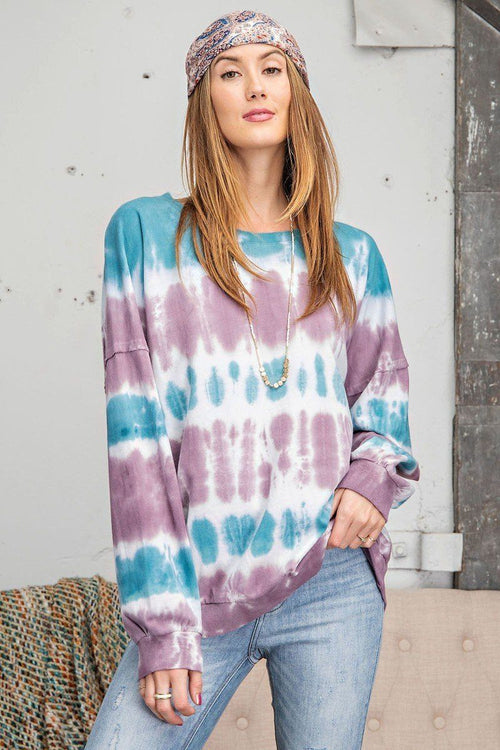 Ombre Dye Terry Knit Banded Bottom Pullover - J NILLY