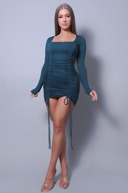 Sexy & Chic Long Sleeve Square Neck Ruching Tie Basic Dress - J NILLY