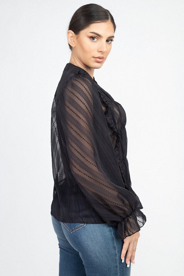 Semi Sheer Ruffle Blouse - J NILLY