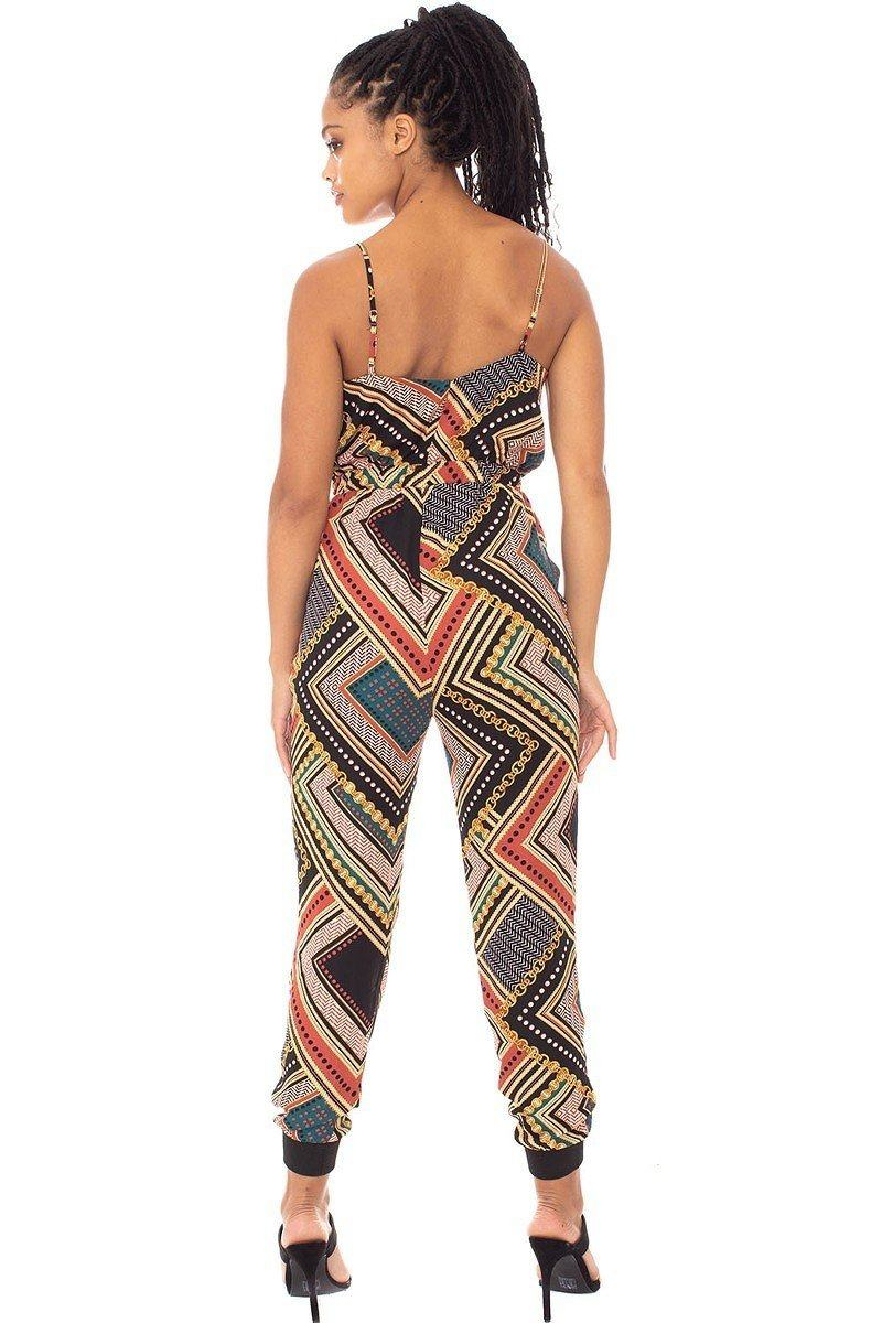 Boarder Print Wrap Drawstring Waist Jumpsuit - J NILLY