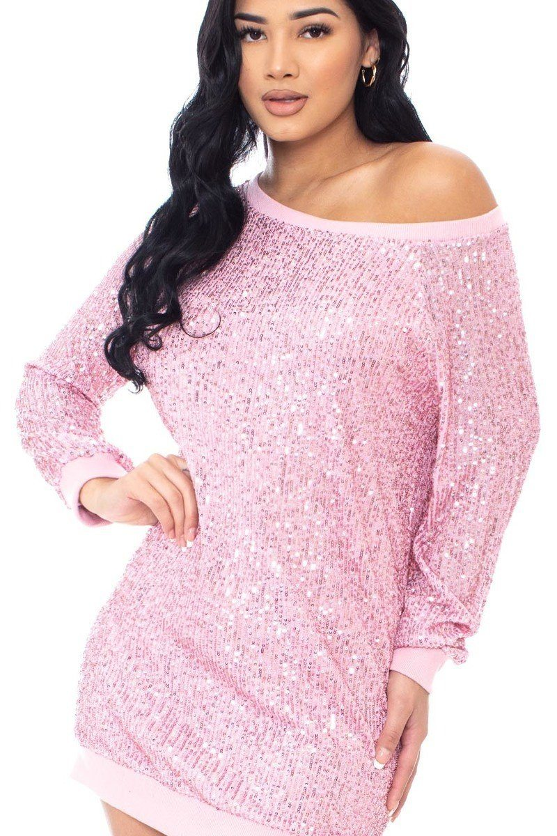 Sequin Wide Neck Boxy Mini Dress - J NILLY