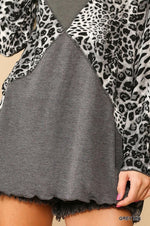 Solid And Animal Print Mixed Knit Turtleneck Top With Long Sleeves - J NILLY