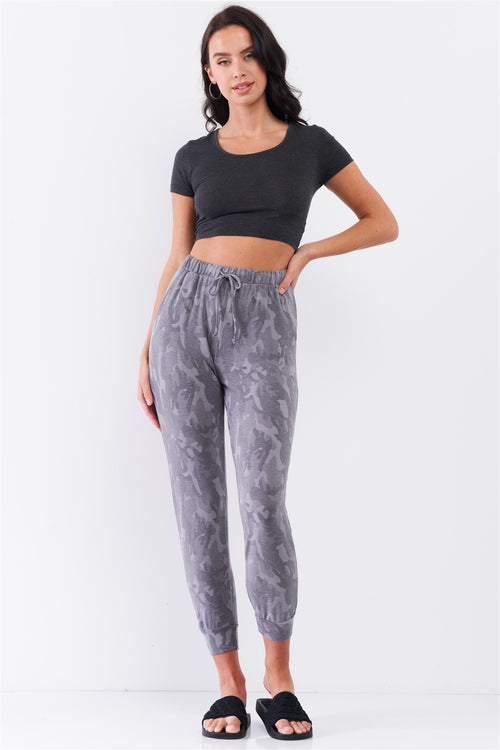 Grey Camo Print Loose Fit High-waisted Elasticated Self-tie Drawstring Waistline Track Pants - J NILLY
