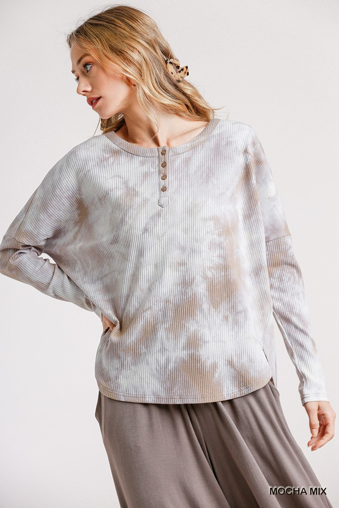 Tie Dye Round Neck Ribbed Button Front Top With Round Hem - J NILLY
