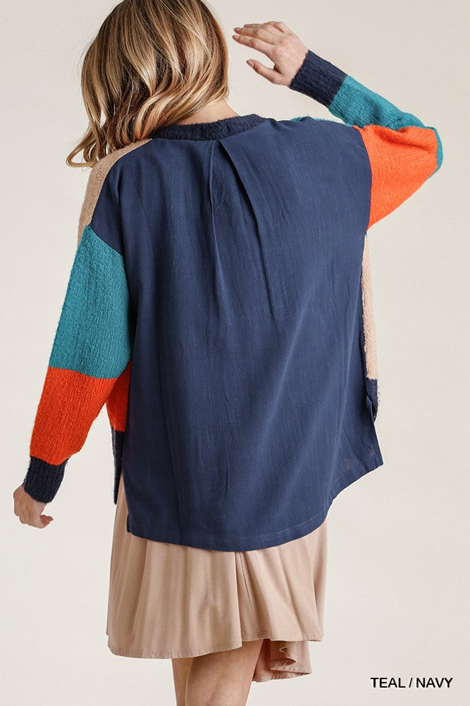 Colorblock Contrasted Cotton Fabric On Back Top With Side Slits And High Low Hem - J NILLY