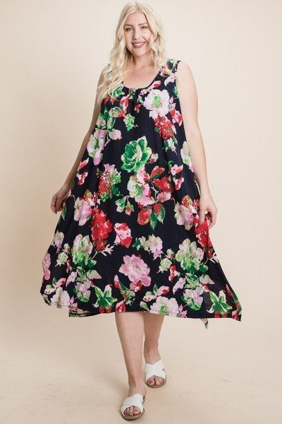 Plus Size Floral Bulgari Printed Tank Midi Dress With Asymmetrical Hem - J NILLY
