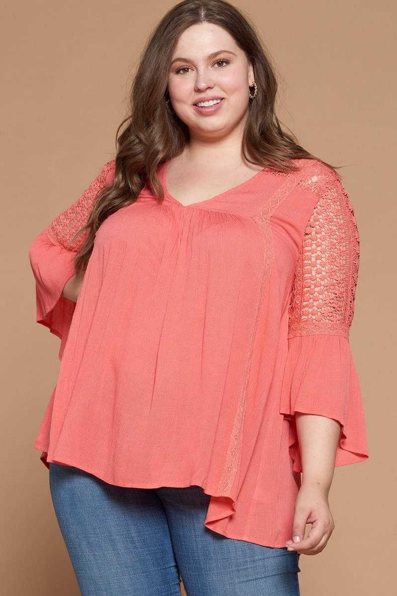 Solid Woven Babydoll Blouse - J NILLY