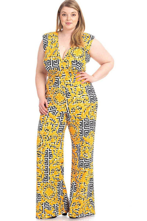 Greek Key Print Formal Jumpsuit - J NILLY