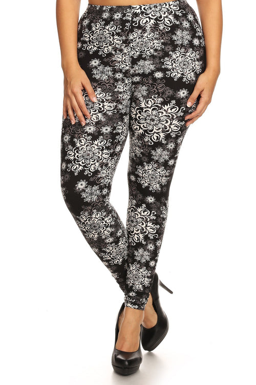 Plus Size Abstract Print, Full Length Leggings In A Slim Fitting Style With A Banded High Waist - J NILLY