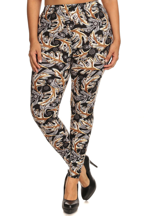 Abstract Leaf Print, Full Length Leggings In A Slim Fitting Style With A Banded High Waist - J NILLY
