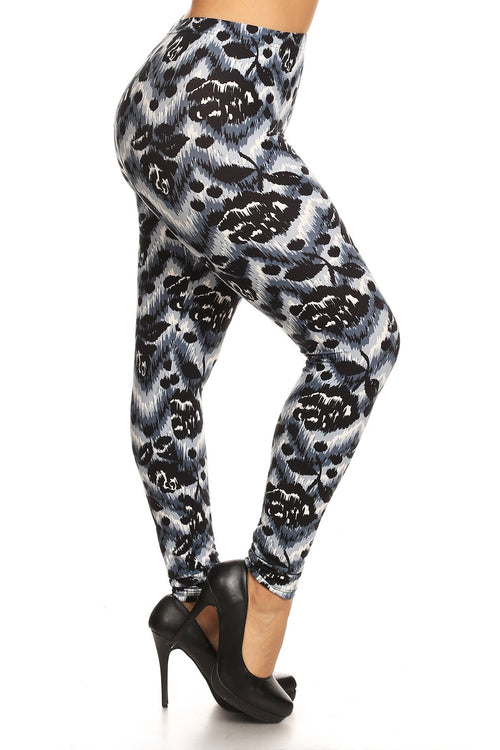 Abstract Print, Full Length Leggings In A Slim Fitting Style With A Banded High Waist - J NILLY