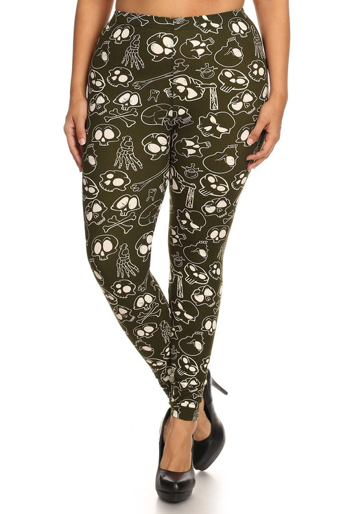 Skulls And Bones Graphic Printed Knit Legging With Elastic Waist Detail. High Waist Fit. - J NILLY