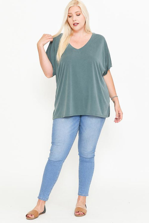 Side Slit With V-neck Dolman Short Sleeve Solid Blouse - J NILLY