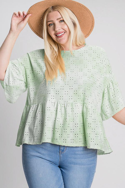 Tie Dye Ruffled Sleeves And Bottom Eyelet Blouse - J NILLY
