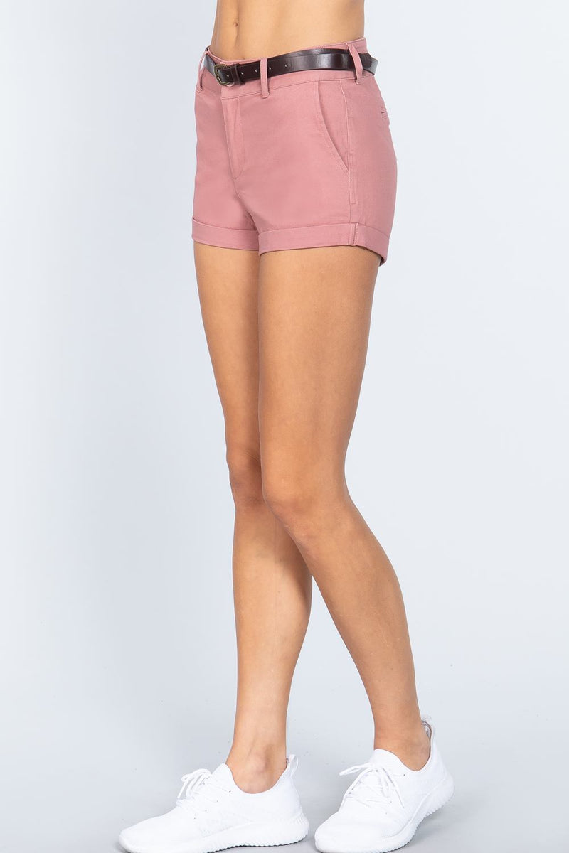 Twill Belted Short Pants - J NILLY