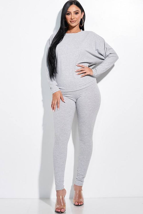 Solid Rib Knit Dolman Sleeve Top And Leggings Two Piece Set - J NILLY