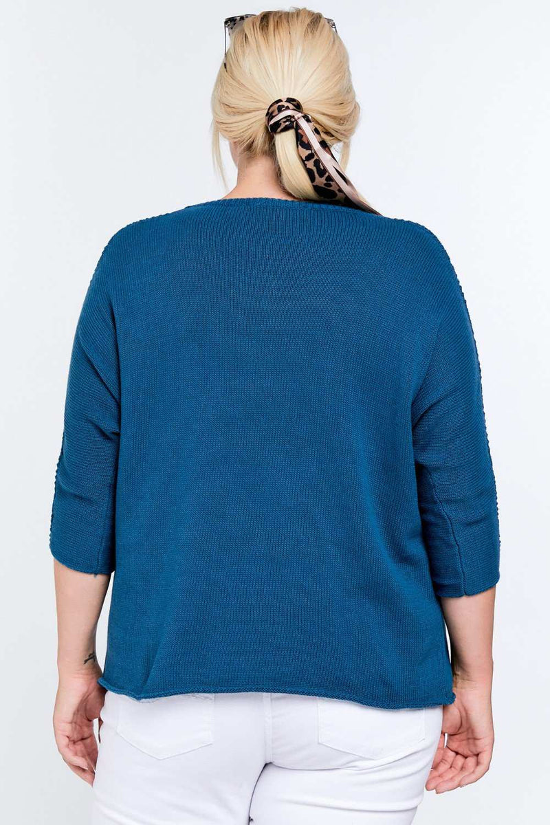 Solid Round Neck 3/4 Sleeve Sweater Top - J NILLY