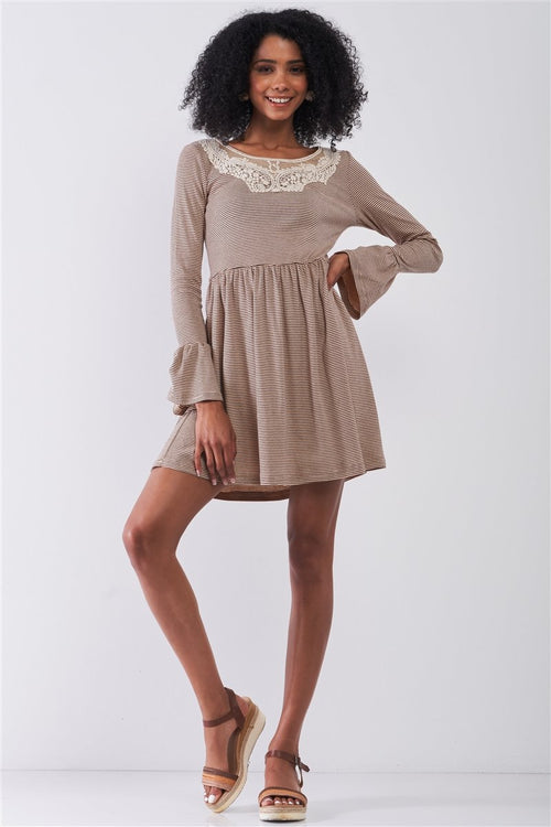 Taupe Horizontal Stripped Embroidery Detail Long Sleeve With Flare Hem Mini Dress - J NILLY
