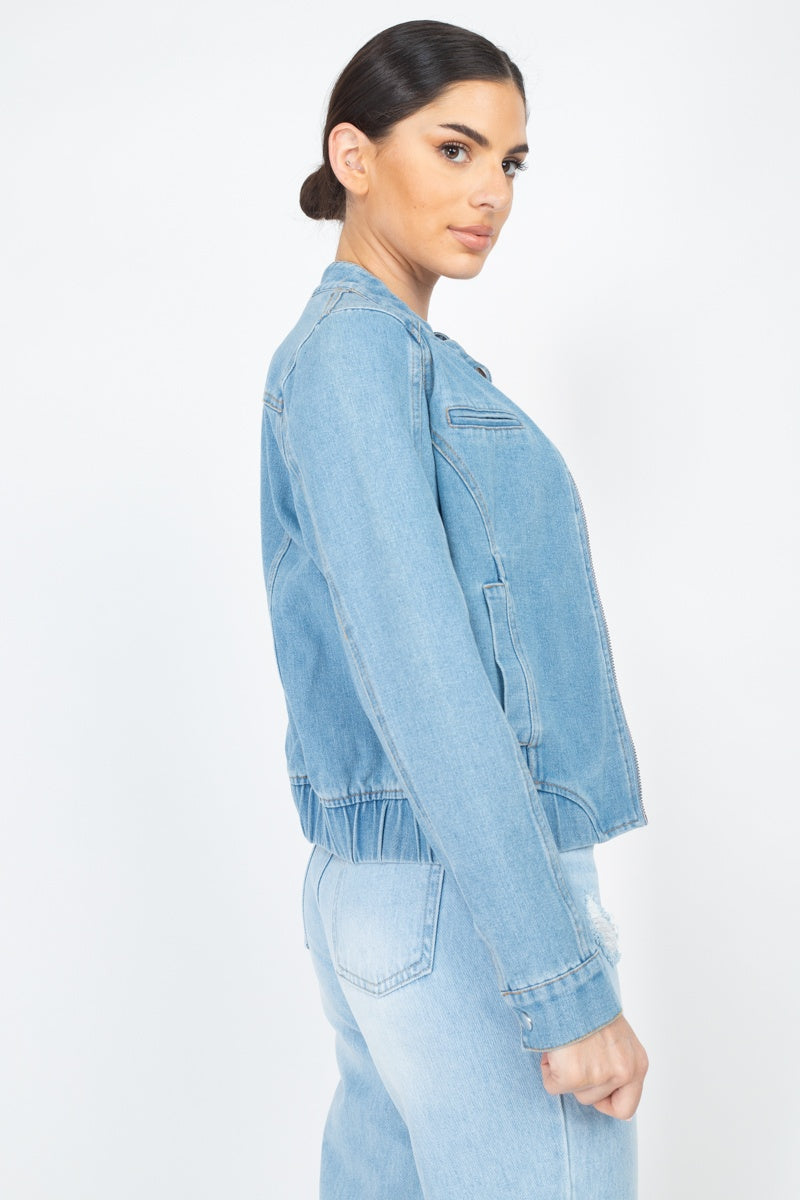 Long Sleeves Funnel Neck Denim Jackets - J NILLY