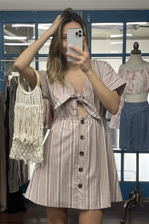 So 90s! Striped Self-tie Front Detail Short Sleeve Button Down Mini Shirt Dress - J NILLY