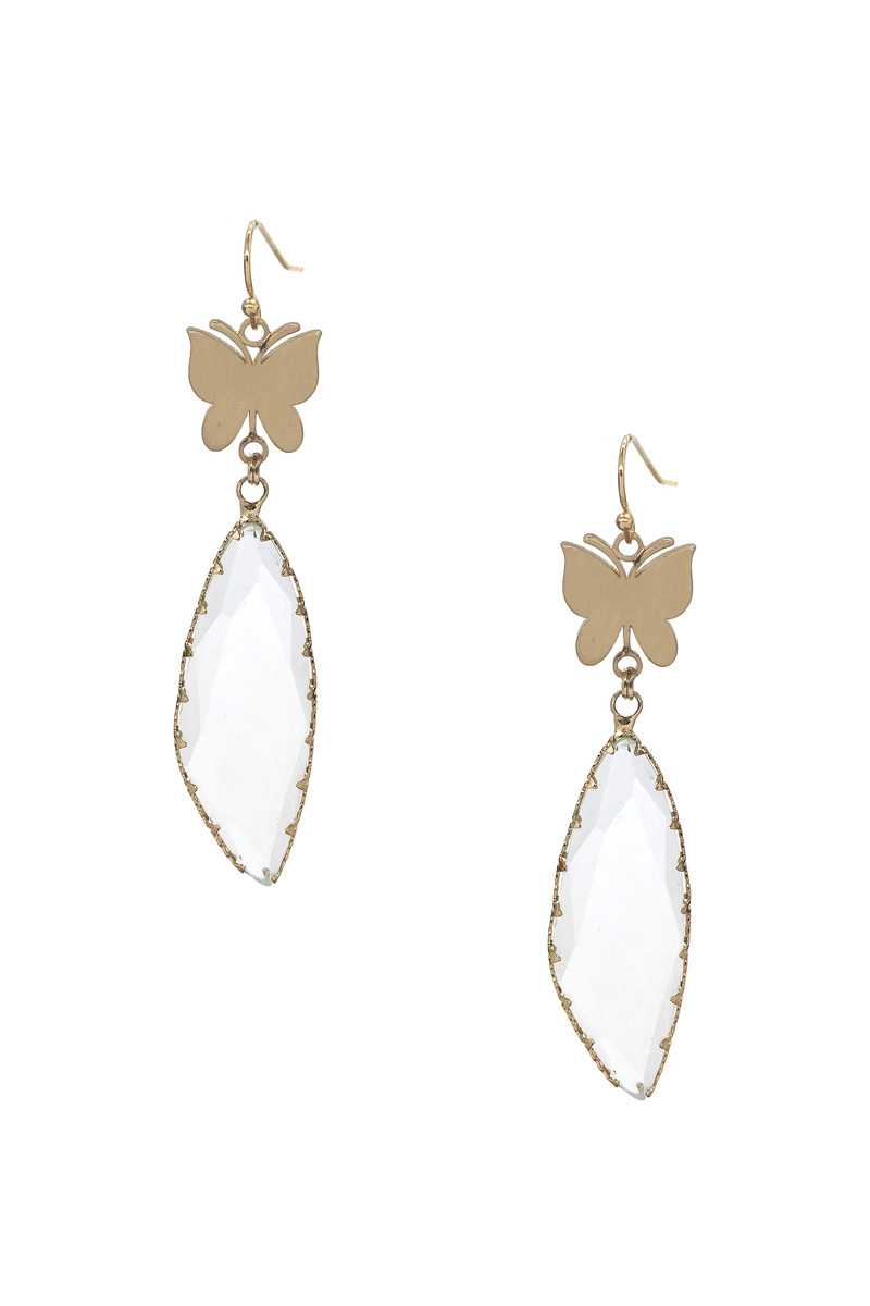 Fashion Butterfly Clear Stone Dangle Earring - J NILLY