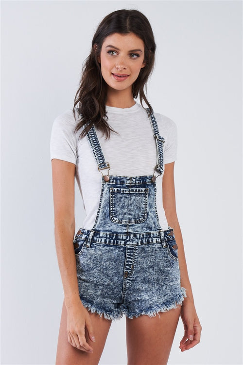 Denim Acid Washed Fringed Mini Short Overall - J NILLY