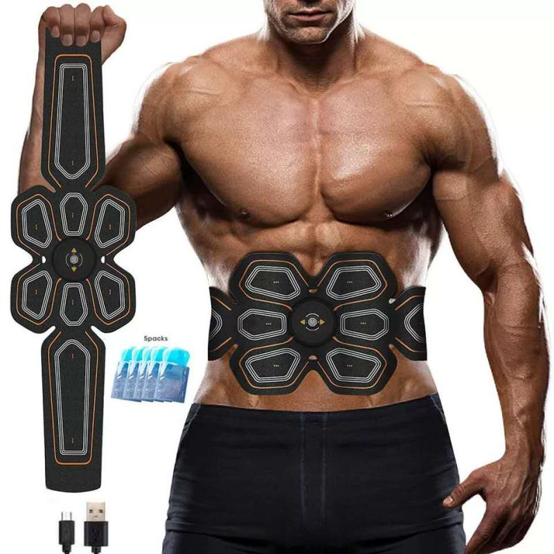 Abdominal Muscle Trainer. It is charged by USB and send electric pulses to stimulate the abdominal muscles