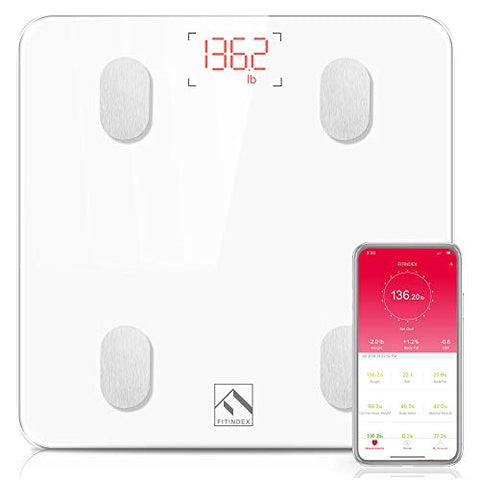FITINDEX Bluetooth Scale, Wireless BMI Weight Scale with Smartphone App