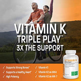Vitamin K Triple Play (Vitamin K2 MK7 / Vitamin K2 MK4 / Vitamin K1) Full Spectrum Complex Vitamin K Supplement, 180 Capsules