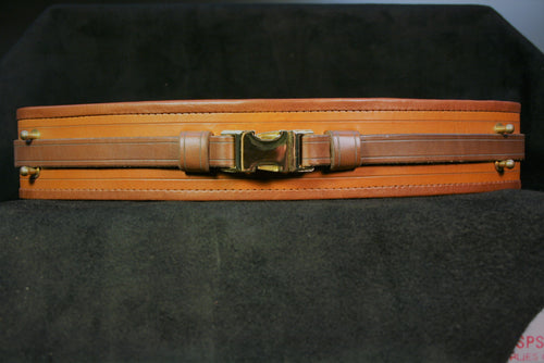 Saddle Tan belt with medium brown edge leather